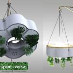 照明ライトを光合成に利用する逆さハーブ作りのスパイスバーサ