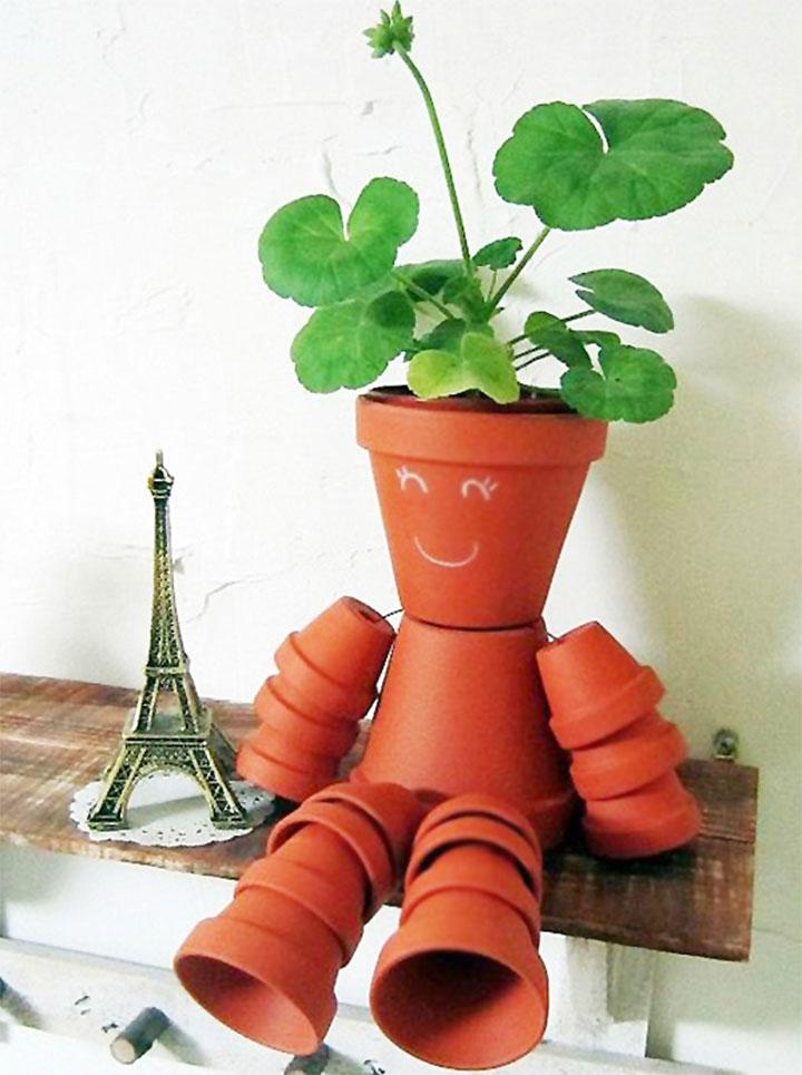 素焼き鉢人形DIY