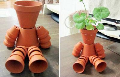 素焼き鉢人形DIY完成