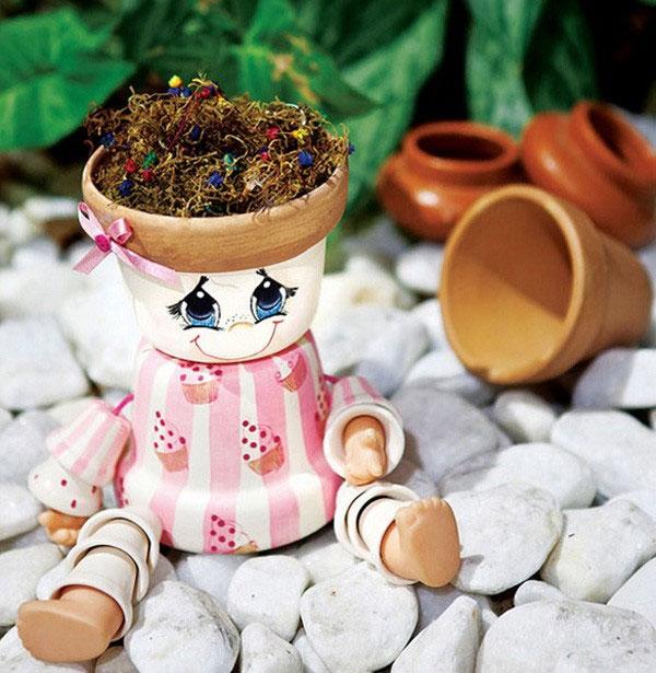 素焼き鉢人形DIY応用